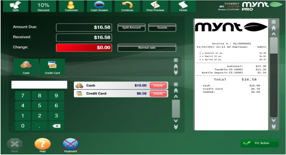 Mynt Payment Screen