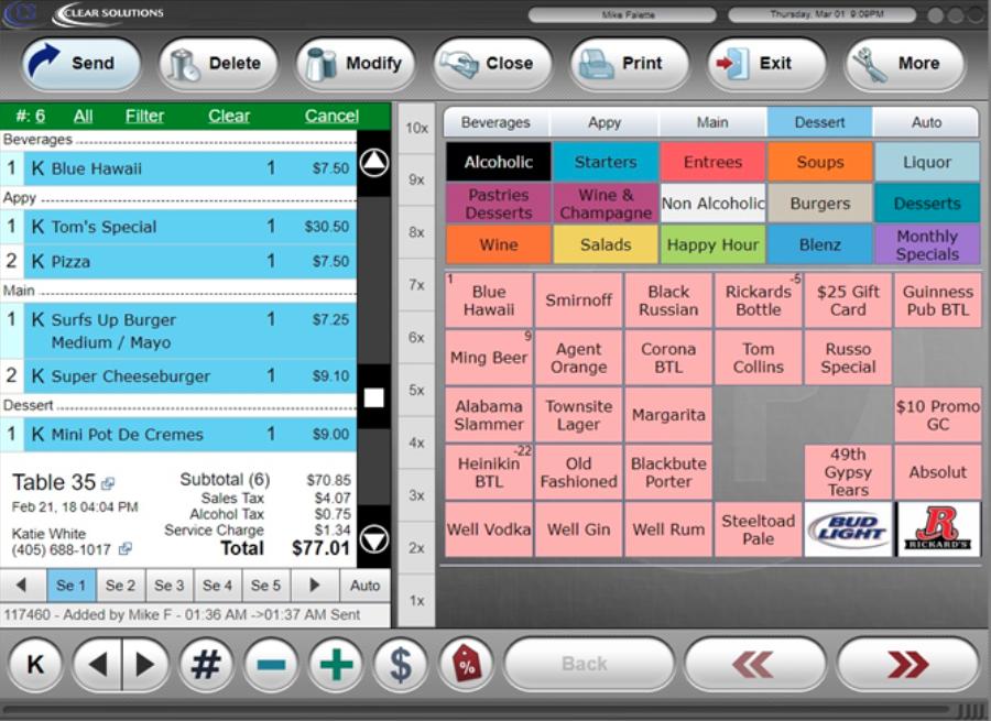 Order Screen Display